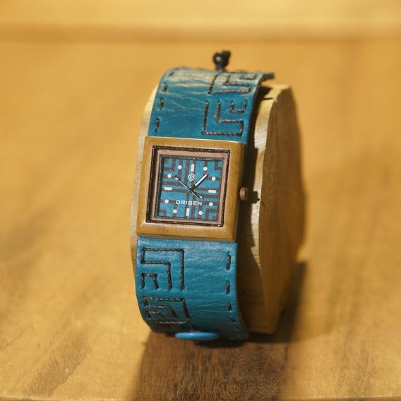 Relógio De Pulso Madeira Artesanal- Mqct Azul