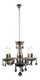 Candil Colgante Vintage Cristal Negro Traslúcido E12 4 Luces