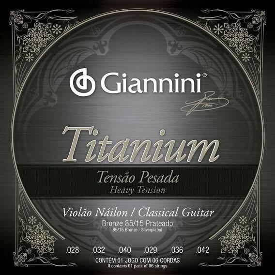 Encordoamento Giannini Titanium Pesado Nylon Violão 7 Cordas