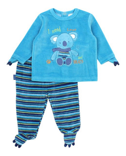 Conjunto Bb Niño Plush Hugs Azul Ficcus