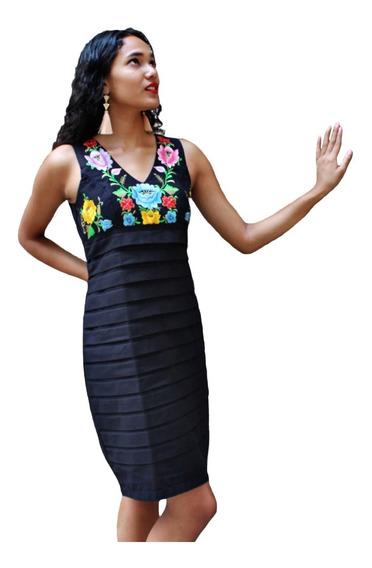 Vestido Formal Naybi Color Negro De Lino Y Algodón