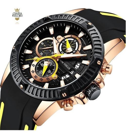 Relógio Masculino Dourado Mini Focus Esportivo 0244 Original