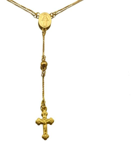Corrente Rosário Terço Elo Veneziano Ouro Amarelo J22350