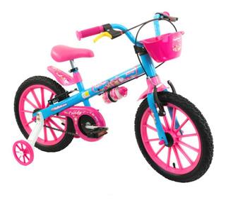 Bicicleta Infantil C/ Cestinha Rosa Menina Candy Aro 16 Abs