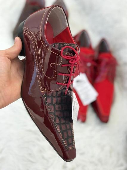 Sapato Social Masculino Couro Legítimo Vermelho Tonalidades