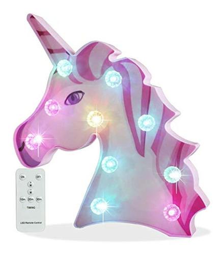 Lámpara De Unicornio 3d, 9.1 In X 9.4 In