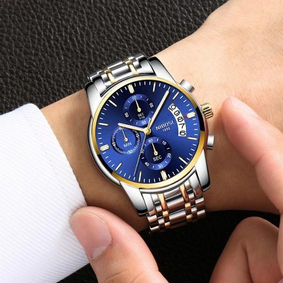 Relógio Nibosi Original Quartzo Prata / Dourado Fundo Azul