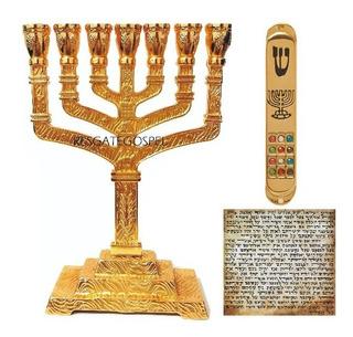 Menorah Candelabro 12 Tribos + Mezuzah 12 Pedras + Klaf