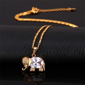 Colar Feminino Folheado Ouro Elefante Cravejado Pedra C124