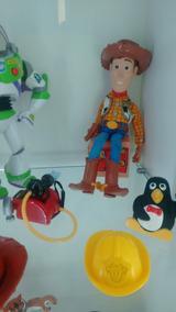 Toy Story Buzz Lightyear E Woody C/ Pinguim E Balde De Sold