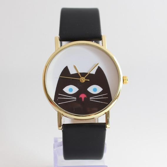 Relógio Gato Preto Catlovers Geek Fashion Cat Casio Rolex Lv