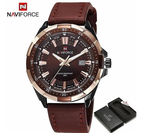 Relógio Militar Naviforce Modelo 9056 Pulseira De Couro