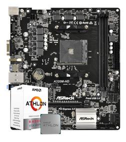 Kit Gamer Placa Mãe A320m Hd + Processador Athlon 200ge Amd