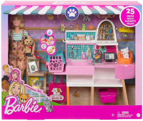 Barbie Pet Shop Playset Veterinária 2021 + 25 Acess Cão Gato