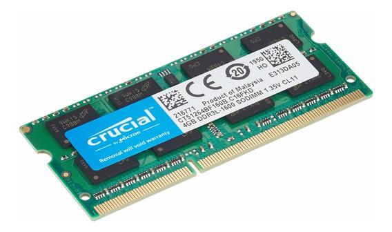 Memoria Crucial 4gb Ddr3l 1600mhz Pc3-12800 Unbuffered Sodim
