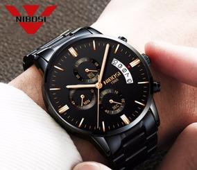 Relógio Nibosi Masculino Aço Preto E Dourado