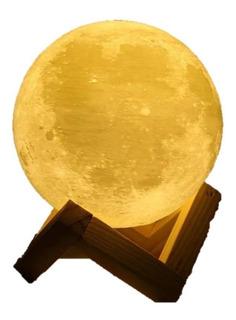 Lámpara Velador Luna Llena 16 Cm Táctil 3 Colores Carga Usb