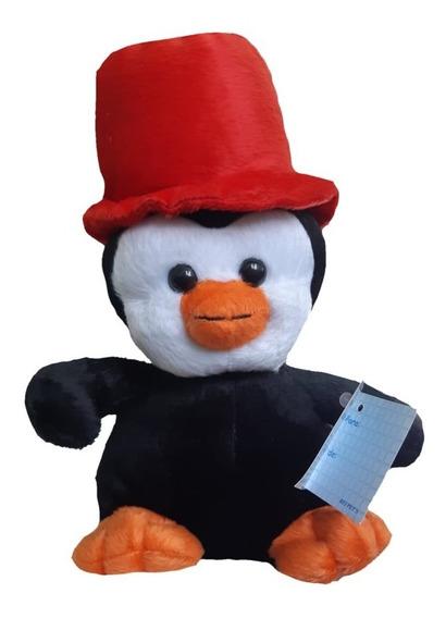 Pelúcia Pinguim Com Cartola 29cm De Pé Anti Alérgico Unissex