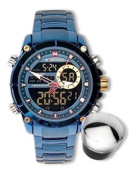 Relógio Masculino Naviforce Original Importado Azul Luxo