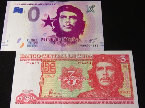 Billete 0 Euro El Che Guevara Y 3 Pesos Cuba De Coleccion