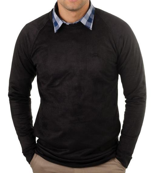 Buzo Hombre Estampado Plush - Terciopelo - Cuello Redondo