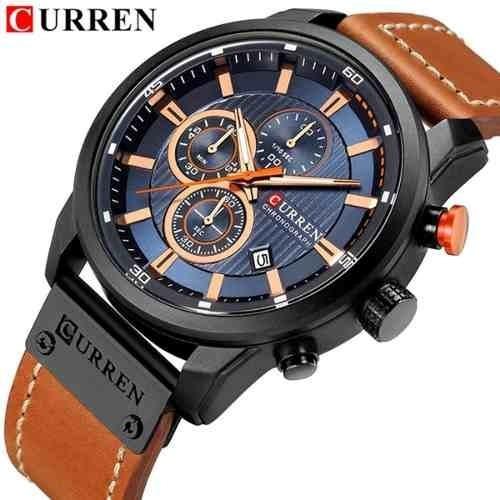 Relógio Curren Luxo Funcional Pulseira De Couro Cronógrafo