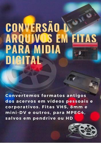 Conversão De Fitas  Vhs, Mine Dv, 8mm, Super 8 E Outras