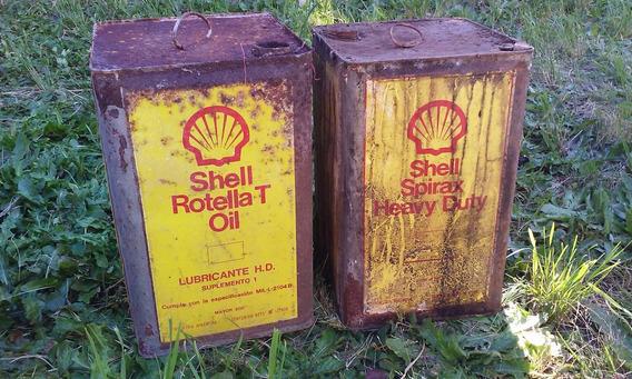 Antiguas Latas De Shell Rotella Y Spirax De 20 Litros