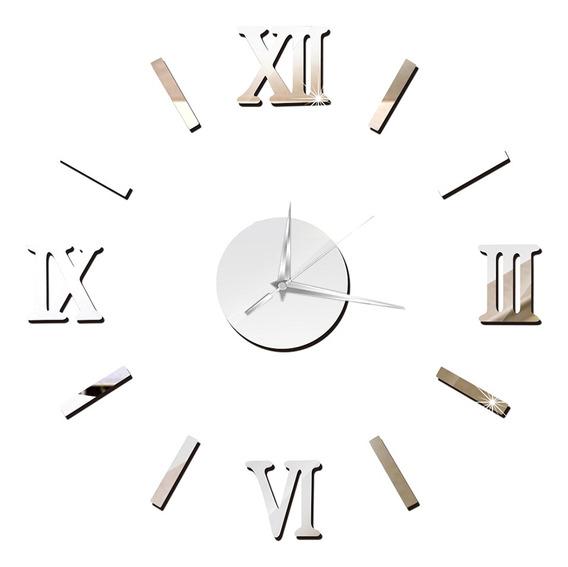 Reloj De Pared 3d Sin Marco, Para Armar, Espejo, Grande