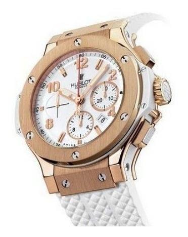 Relógio Hublot Cerâmica Branco Dourado Funcional Original 12x