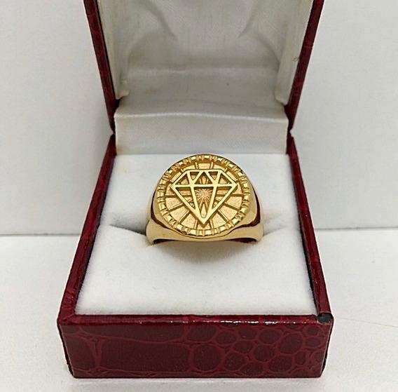 Anel Diamante Masculino Banhado A Ouro 18k Cravejado Brasão