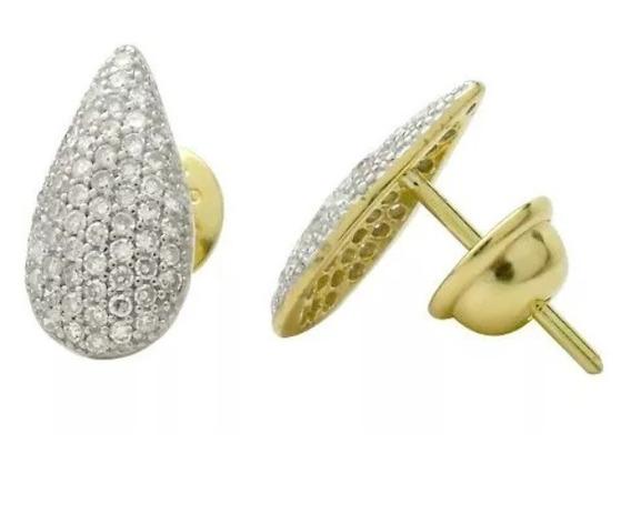 Brinco De Ouro 18k Gota Com Diamantes Naturais