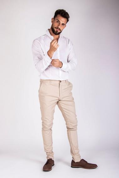 Pantalón De Gabardina Slim Fit Corte Chino Entallado