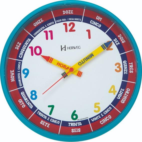 Relógio Parede 25cm Herweg Educativo Infantil 6690 Azul