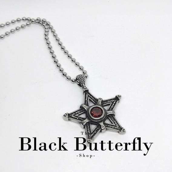 Collar Estrella Pentaculo Goth Wicca Pagano Gotico Dark