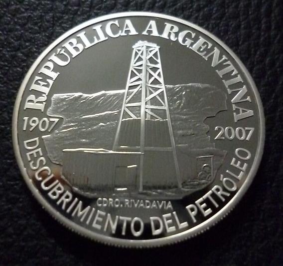 Moneda 1 Peso Descubrimiento Petroleo 2007 Plata Certificado