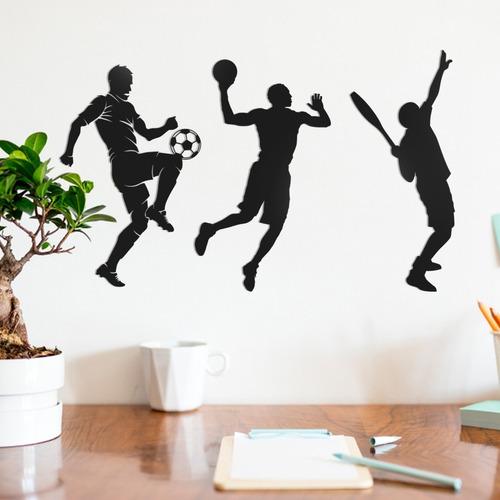 Trio Quadros Decorativo Parede Esportes 01 30cm