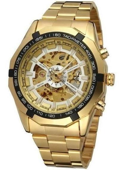 Relógio Winner Dourado Automático Prova Dágua