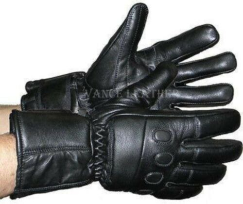 VAN MENS WOMENS INSULATED LAMB SKIN LEATHER GAUNTLET GLOVES w// PADDED KNUCKLES