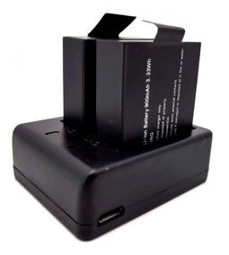 Kit 1 Carregador Duplo + 2 Bateria Para Câmera 1080p 900mah