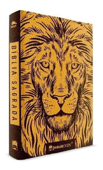 Biblia Sagrada Jesus Copy Leão Dourado - Capa Flexivel - Nvi