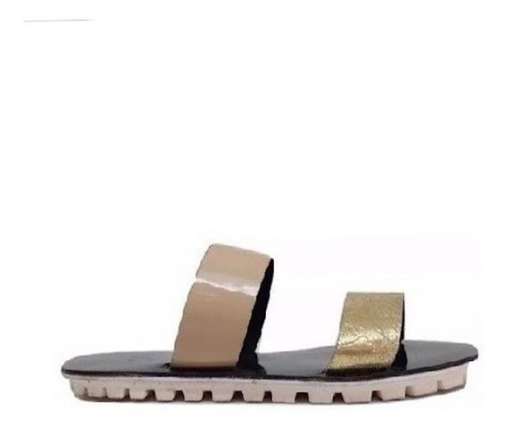 Zapato Mujer Sandalia Tira Natacha Charol Nude Y Dorada#2010