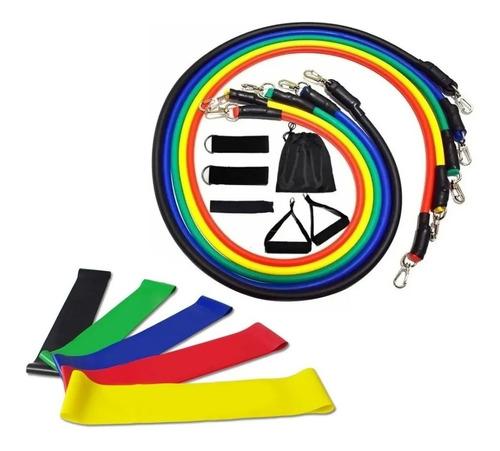 Imagem 1 de 5 de Kit Tubing Elástico 11 Itens + 5 Faixas Mini Band Treino Top
