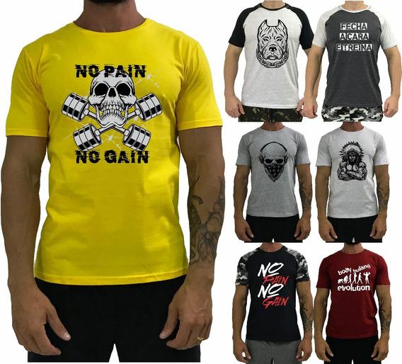 Kit 7 Camiseta Estampada Masculina Academia Treino T-shirt