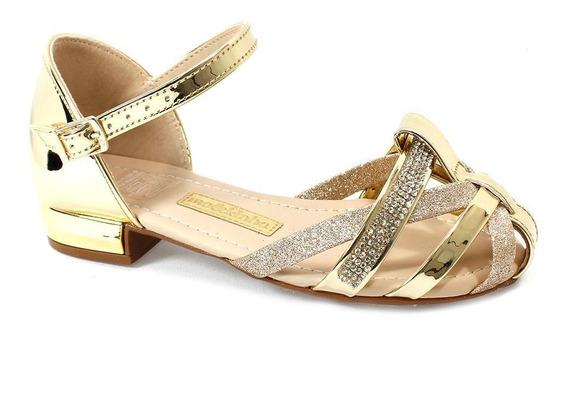 Sandália Molekinha Strass Dourada Menina 2098.447