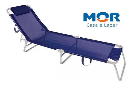 Cadeira De Praia Mor Espreguiçadeira Alumínio Azul Marinho
