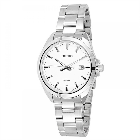 Reloj Seiko Plateado Para Hombre Sur205p1 Original Dial Blanco