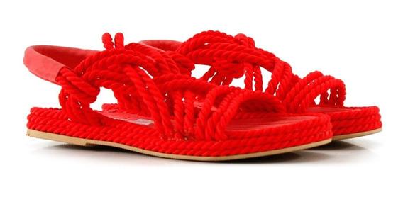 Sandalias Bajas Trenzadas En Rojo