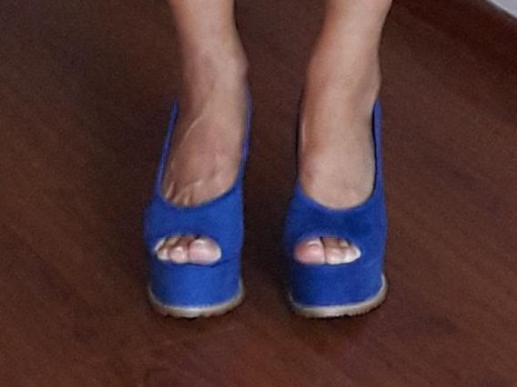 Zapato Azul Eléctrico Taco Chino Gamuza Talle 38 Impecables