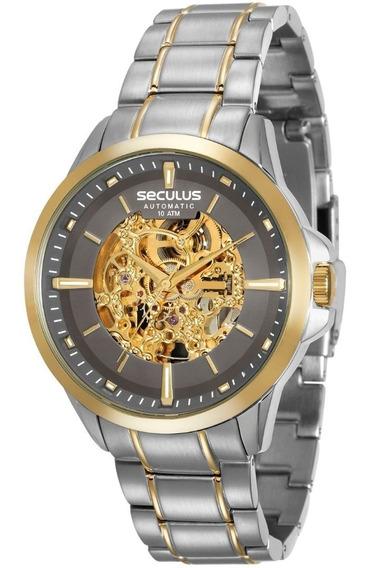 Relógio Masculino Seculus Automático Chumbo 20552gpsvba2